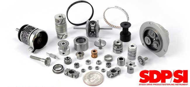 A collection of specialty mechanical components from Stock Drive Products Sterling Instruments