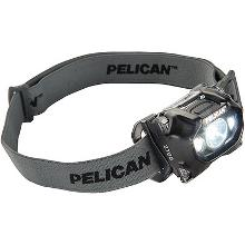 Multibeam headlamp in black housing and band with Pelican brand name printed on it.