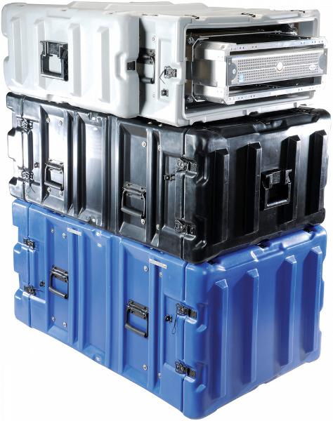 Three Pelican Hardigg Classic Rack Mount Cases stacked one top of each other in various sizes and colors, including white, black, and blue.