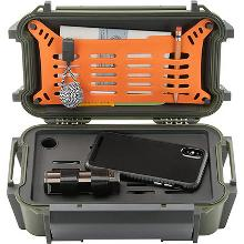 a green pelican r60 ruck case, open and containing a phone, penical, paper, and small tools
