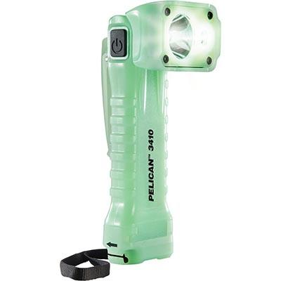 Professional grade flashlight with a right angle swivel head and glow in the dark body.