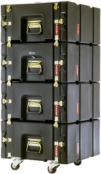 Four black ProRack rolling mount cases stacked on top of each other with the handles facing the front.