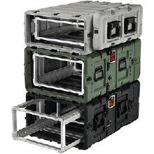 Pelican-Hardigg rotomolded rack case for use in harsh environments.