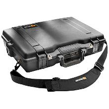 Rugged Pelican Protector Laptop case with strap, over-molded rubber handles, and stainless steel hardware.