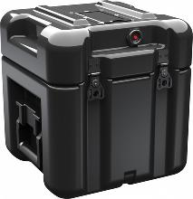 Durable rotomolded single lid Pelican case in black.